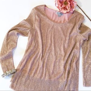 JM Collection Petite Long Sleeve Rose Gold Top